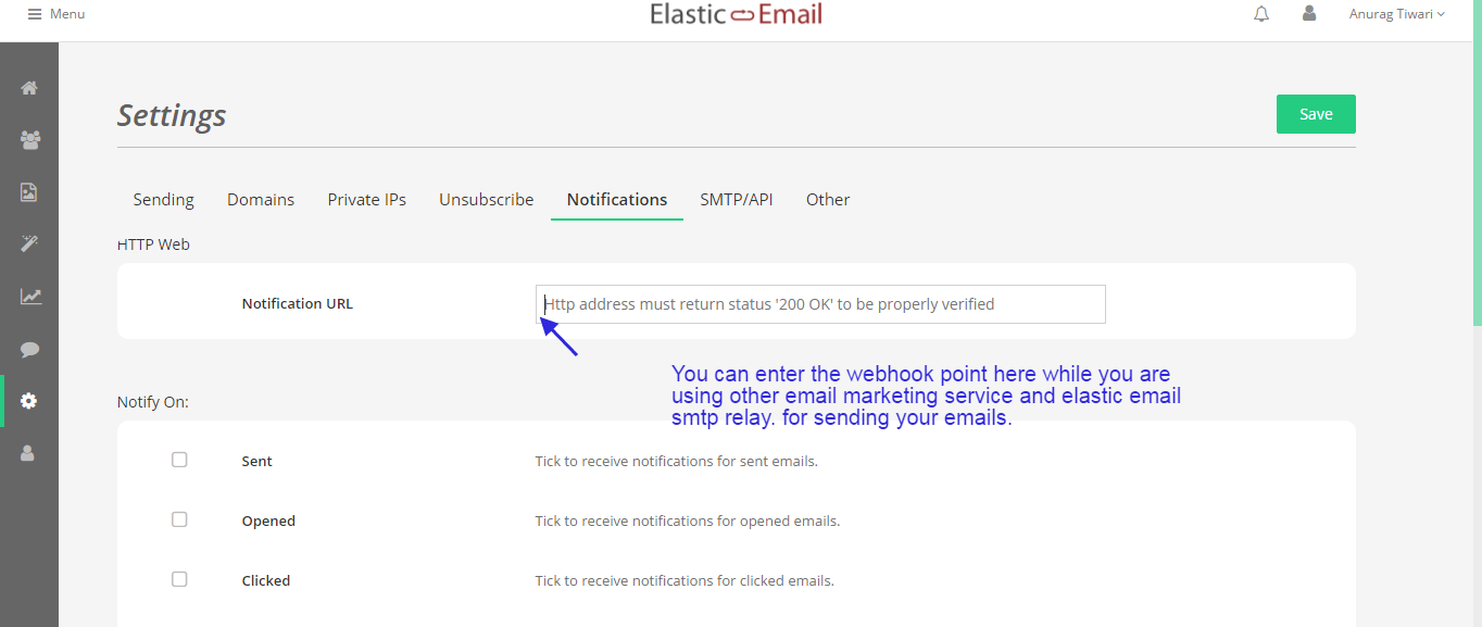 elastic email end point
