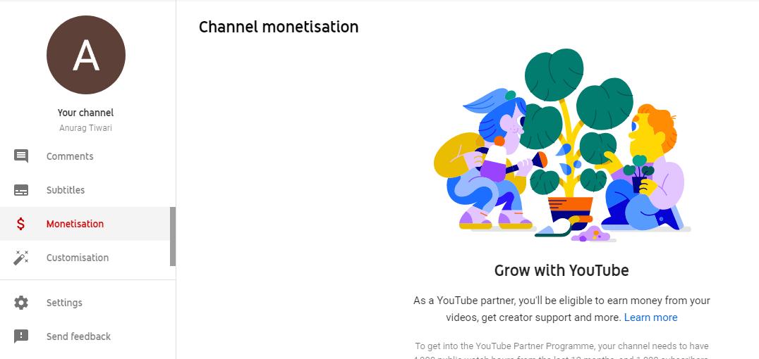 youtube dashboard for monetization