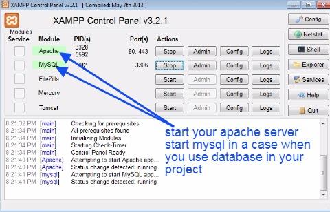 Start XAMPP server