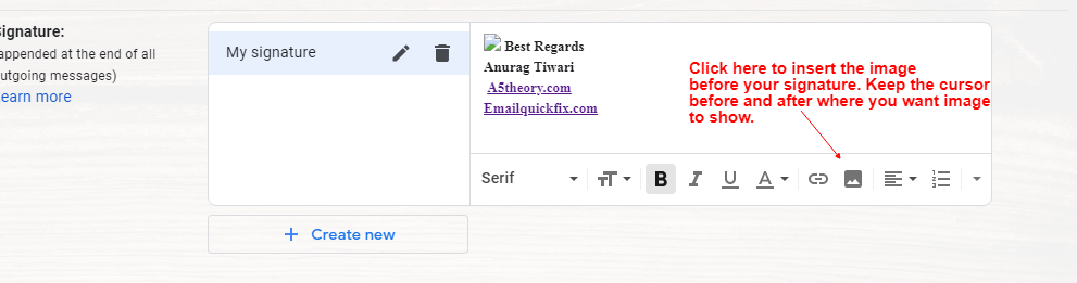 Gmail signature with image