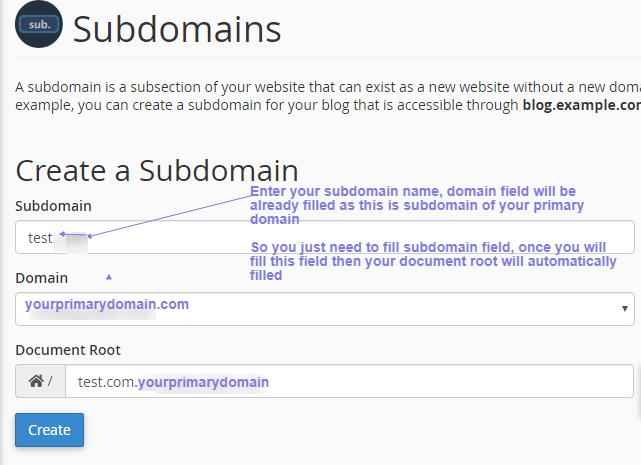 create sub domain new