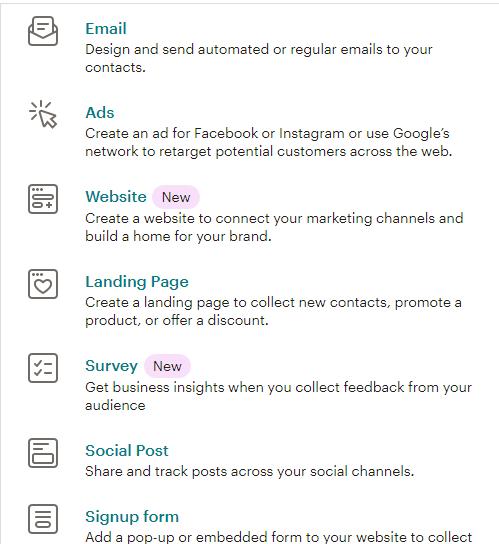 mailchimp create features