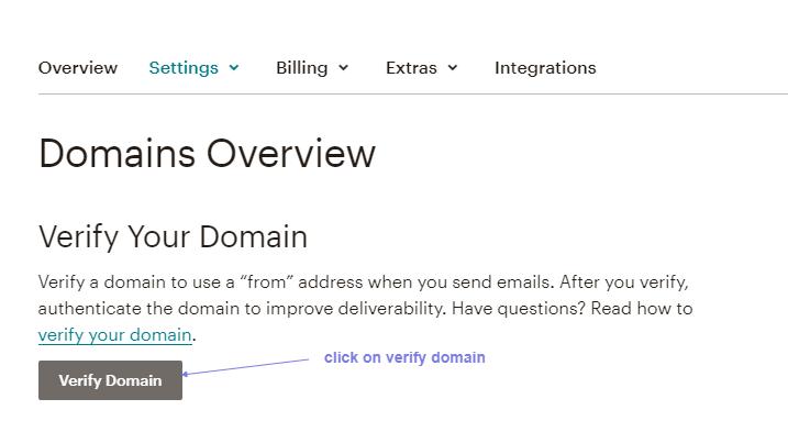 mailchimp verify domain click option