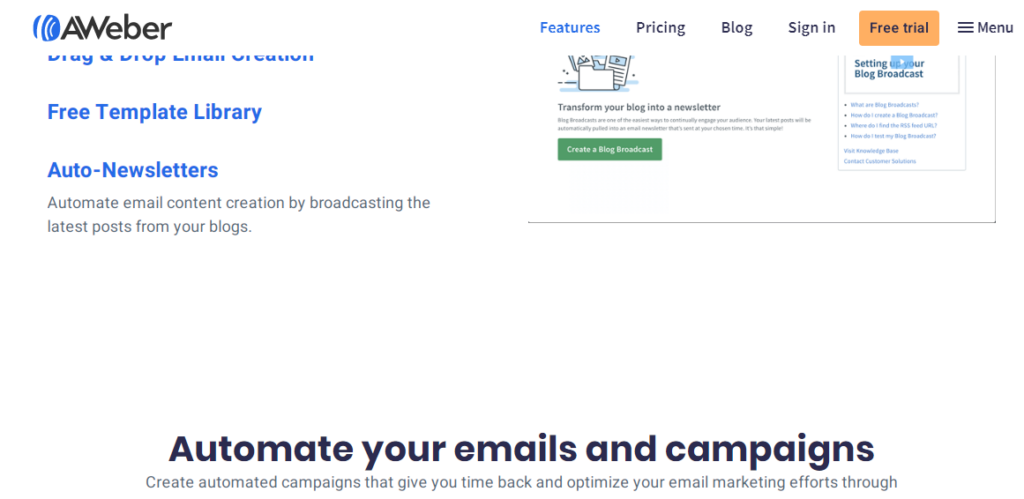 Aweber- best email marketing service 2020 automated newsletter
