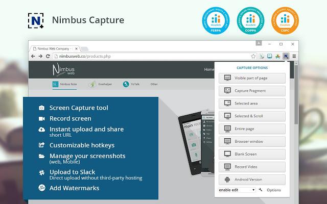 nimbus google chrome video recording extension