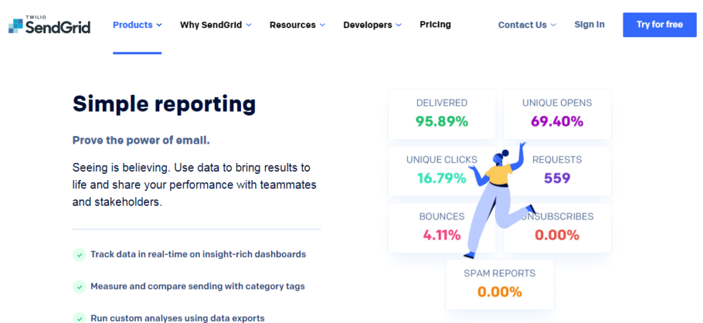 sendgrid - best email marketing service 2020 feature