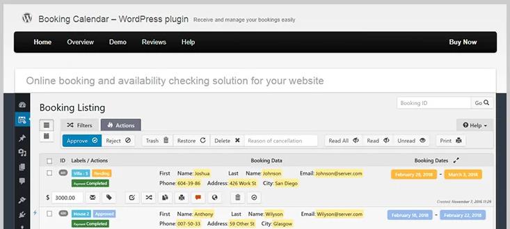 booking calendar wordpress booking plugin
