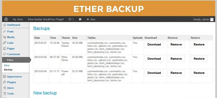 ether wordpress backup plugin