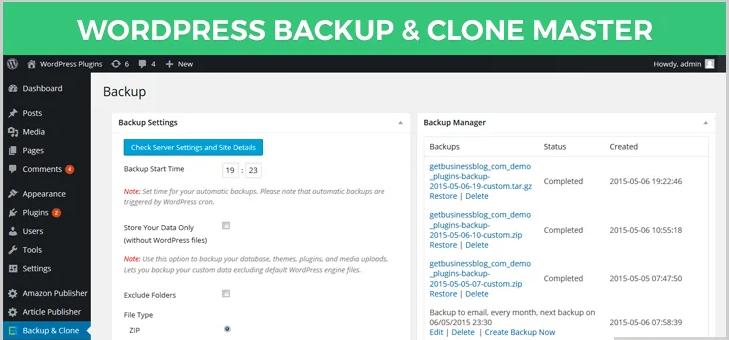 wordpress backup and clone master plugin