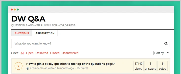 DW question and answer wordpress forum plugin