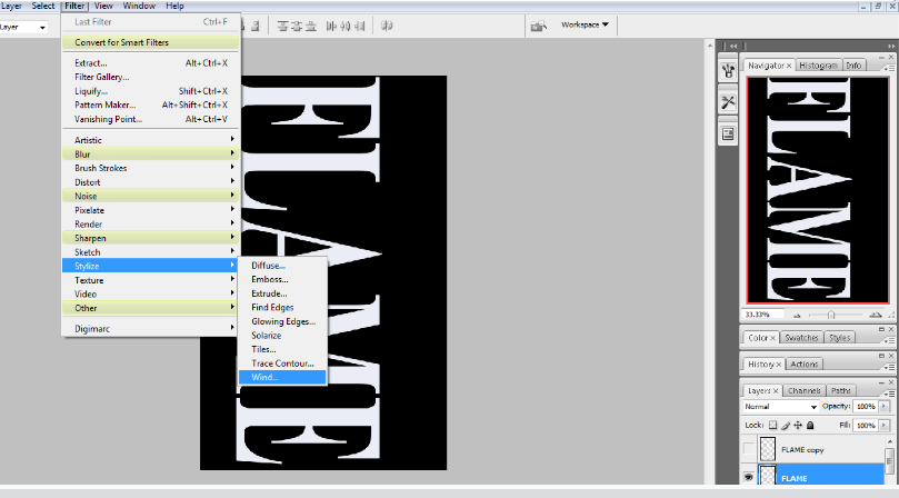 Flaming Hot Fire Text in Photoshop 8