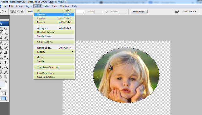 crop the circular image in photoshop 7