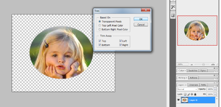 crop the circular image in photoshop 8