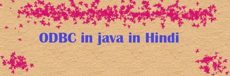 ODBC in java in Hindi feature