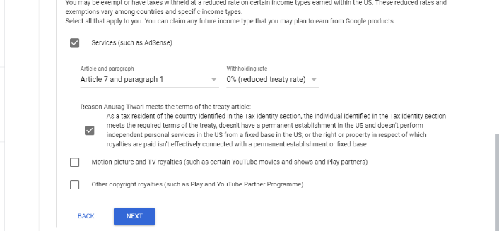 Submit Tax Information Form in Google Adsense for YouTube and Blog 13