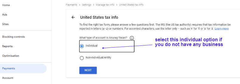 Submit Tax Information Form in Google Adsense for YouTube and Blog 7